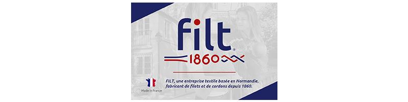 Les filets à provision FILT sont fabriqués depuis 1860 en Normandie. C'est toute une gamme de filets de grand-mère colorés faits en France et 100% écoresponsable (100% coton et teintures certifiés OEKO-TEX).